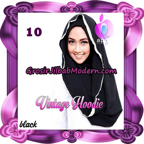 Jilbab Instant Hoodie Vintage Modis Original By Apple Hijab Brand No 10 - Hitam
