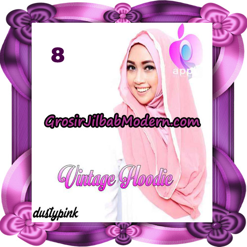 Jilbab Instant Hoodie Vintage Modis Original By Apple Hijab Brand No 8 - Dusty Pink