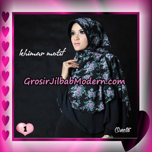 Jilbab Khimar Motif Kombinasi Polos Pet Seri 1 Support By Oneto Hijab No 1