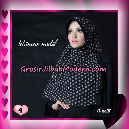 Jilbab Khimar Motif Kombinasi Polos Pet Seri 1 Support By Oneto Hijab No 4