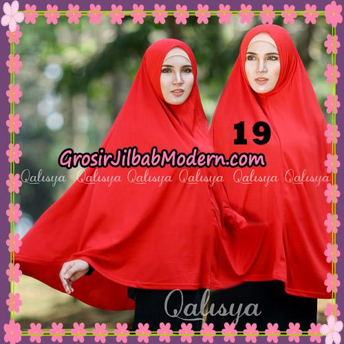 Jilbab Polos Basic Khimar Jersey Jeruk Original by Qalisya Brand No 19 Merah