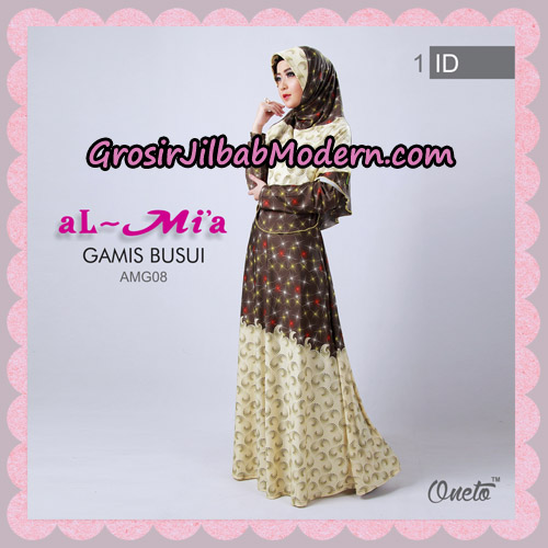 Setelan Gamis Busui Motif Kembang Api AMG08 Original By Almia ( Al-Mi'a Brand ) No 1
