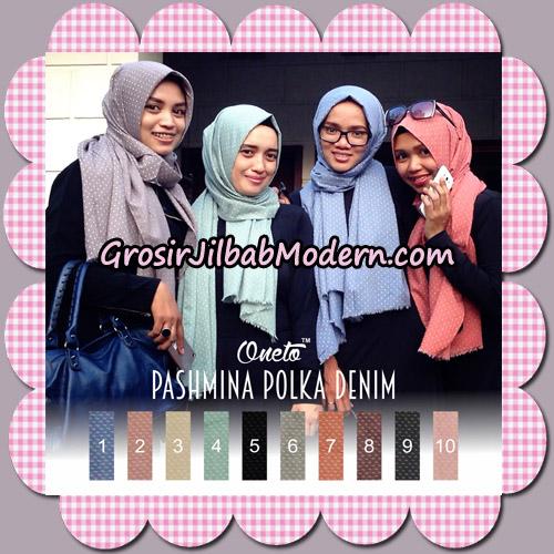 Pashmina Polka Denim By Umama Support Oneto Hijab