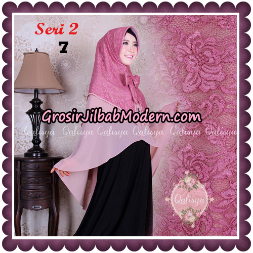 Jilbab Khimar Syari Sabqa Brukat Seri 2 Original By Qalisya Hijab Brand NO 7 Dusty Pink