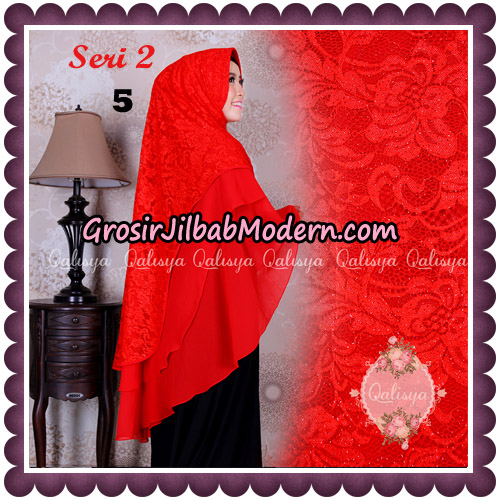 Jilbab Khimar Syari Sabqa Brukat Seri 2 Original By Qalisya Hijab Brand No 5 Merah