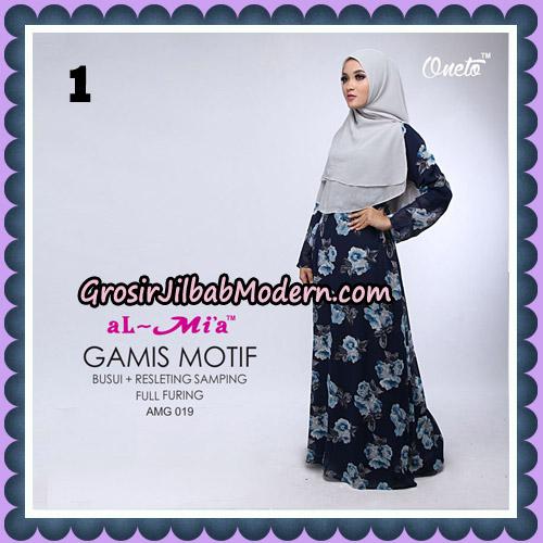 Gamis Motif Cantik AMG 019 Original By AlMia Brand No 1