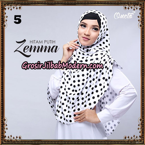 Jilbab Instant Cantik Zema Hitam Putih Support Oneto Hijab No 5