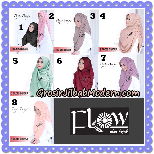 Jilbab Instant 2 Faces Dravia Poppy Bunga Original By Flow Idea Hijab