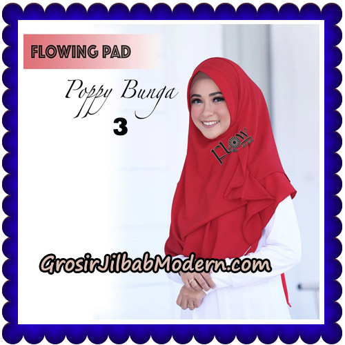 Jilbab Instant Flowing Pad Ala Poppy Bunga Original By Flow Idea No 3