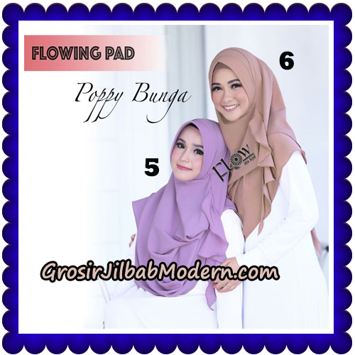Jilbab Instant Flowing Pad Ala Poppy Bunga Original By Flow Idea No 5,6