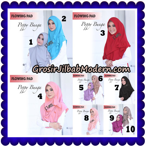 Jilbab Instant Flowing Pad Ala Poppy Bunga Original By Flow Idea