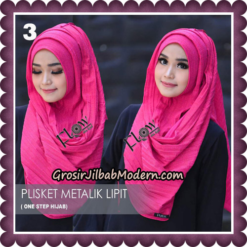 Jilbab Instant Plisket Metalik Lipit Original By Flow Idea Hijab No 3