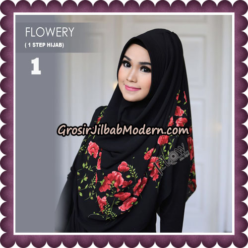 Jilbab Instant 1 Step Hijab Flowery Original By Flow Idea Hijab No 1