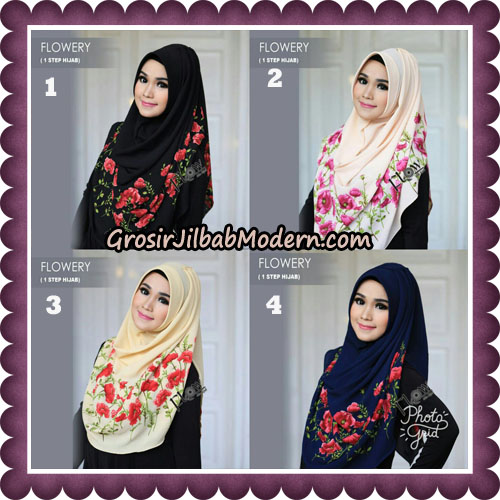 Jilbab Instant 1 Step Hijab Flowery Original By Flow Idea Hijab