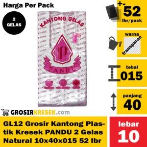 GL12 Grosir Kresek Plastik PANDU 2 Gelas Natural 10x40x015 52 lbr