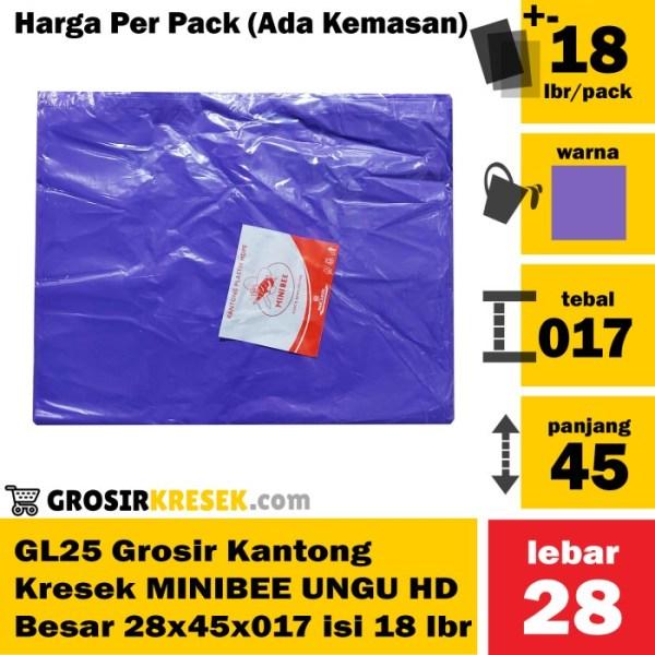GL25 Grosir Kantong Kresek MINIBEE UNGU HD Besar 28x45x017 isi 18 lbr