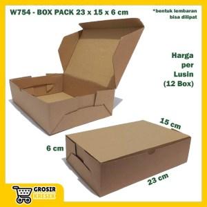 W754 Kardus Pack 23 x 15 x 6 cm Box Polos Coklat Karton Die Cut Lusin