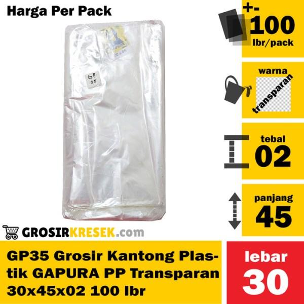 GP35 Grosir Kantong Plastik GAPURA PP Transparan 30x45x02 100 lmbr