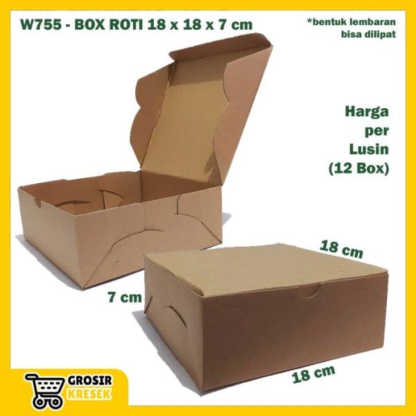 W755 Kardus Roti 18 x 18 x 7 cm Box Polos Coklat Karton Die Cut Lusin