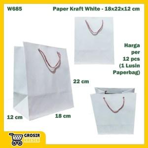 W685 Paperbag Paper Kraft Putih Polos Goodiebag 18x23x12cm Tas Kertas