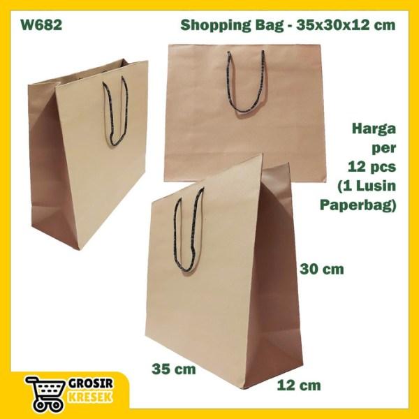 W682 Paperbag Coklat Polos Goodiebag Shopping Bag Belanjaan 35x30x12cm