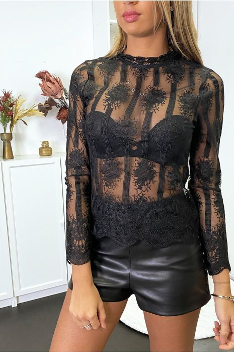 sheer black top with pretty embroidered pattern and lace cheap women fashion
