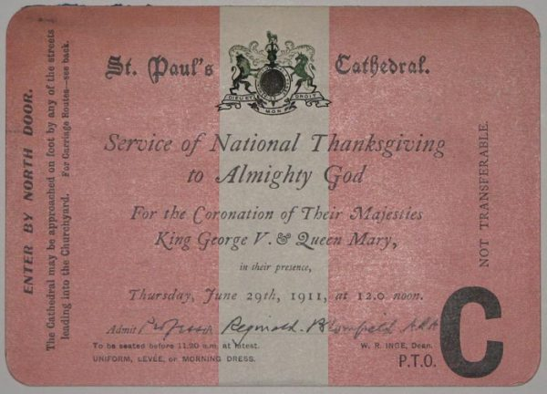 [TICKET / INVITATION] St Paul's Cathedral. Service of ...