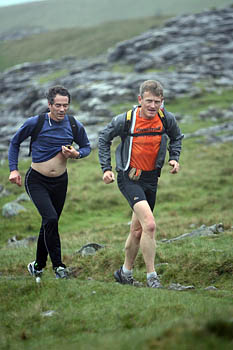 Mark Hartell, right, leads the Fellsman 2007 event