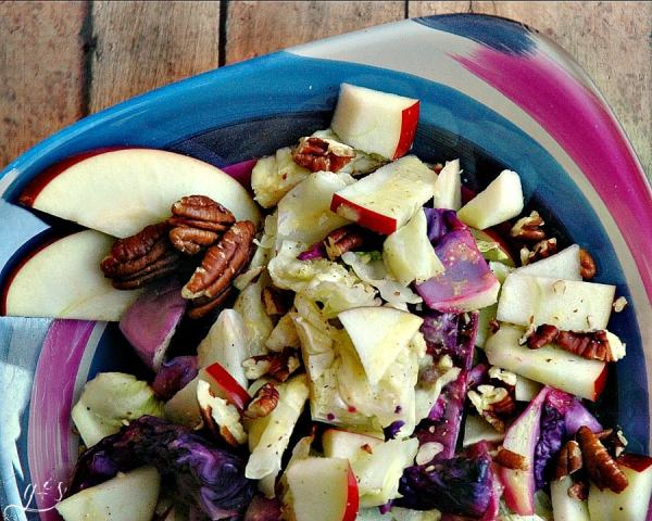 """This warm, healthy, and colorful salad is simple to make and full of flavor! It is low calorie and pairs perfectly with any protein and will turn everyone at the table into a cabbage lover! The apples and pecans are just the """"icing on the cake""""! https://www.groundedandsurrounded.com/recipe/roasted-cabbage-apple-pecan-salad/"""