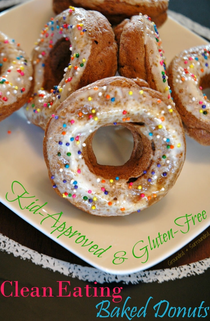 Clean Eating Baked Donuts | This easy homemade donut recipe does not disappoint! Healthy, gluten free, and simple to make. Top with sprinkles for the kids or coconut sugar for the adults. Perfect for a skinny breakfast or snack - only 90 calories per donut! Goodbye Krispy Kreme, you've been replaced!