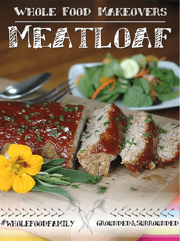 Whole Food Makeovers: Meatloaf with Glaze | If you are looking for the best healthy, gluten free, and low carb meatloaf and sauce recipe packed with flavor this one's for you. It will help you use up the zucchini from your garden too! Plus it contains 2 vegetables, ground flax seed, and more clean eating ingredients like oatmeal! We used ground turkey, but beef works as well. A classic and easy recipe but packed with whole food ingredients.