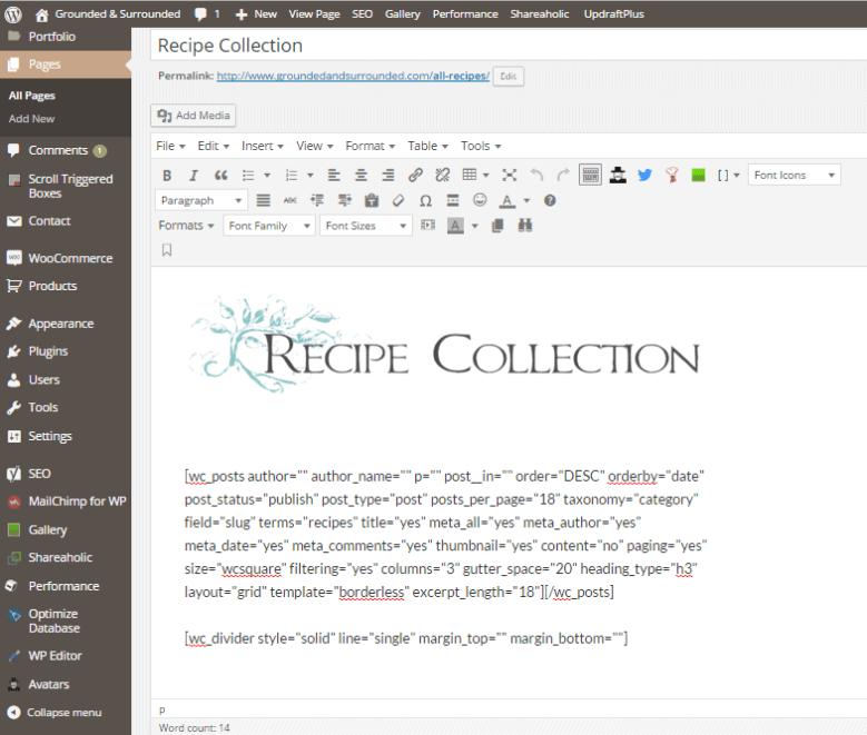 recipe shortcodes