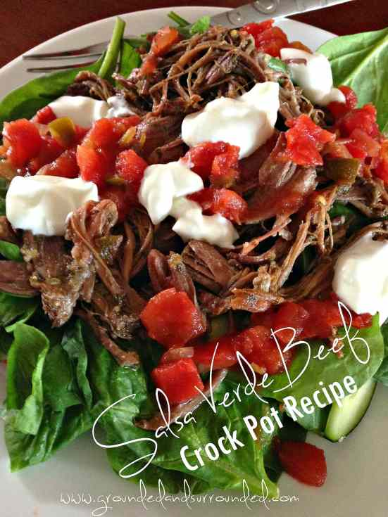 2 Recipes in 1 : Crock Pot Salsa Verde Shredded Beef + Homemade Ranch Seasoning Mix | This is the best slow cooker recipe I have found to cook beef roasts! Use the meat in tacos, burritos, Mexican sandwiches or on salads. Meat recipes like this are my go-tos when I need healthy comfort food. Easy and delicious dinners like this are made for families of all sizes, any day of the week, all year long!