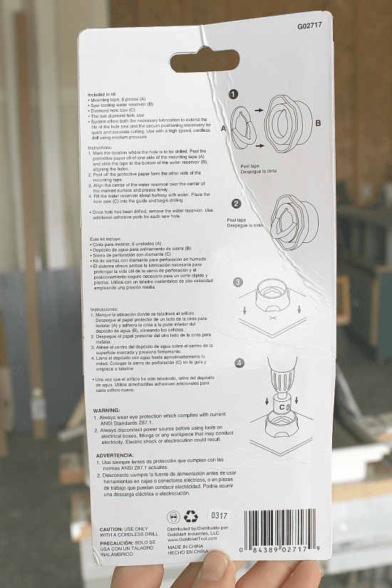 Instructions for cutting tool for round diamond hole tile saw.
