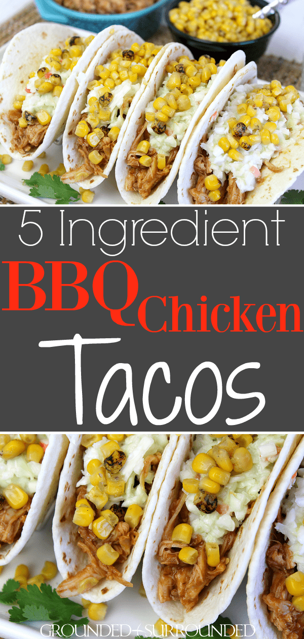 The BEST BBQ Chicken Tacos | This easy 5 ingredient recipe makes the perfect quick weeknight dinner. Rotisserie chicken, barbecue sauce, store-bought coleslaw, a can of fire-roasted corn, and flour or corn tortillas are all you need! Mexican food is a favorite in our family but these summer street taco flavors can\'t be beat.  #bbq #tacos #chicken #dinners #recipes