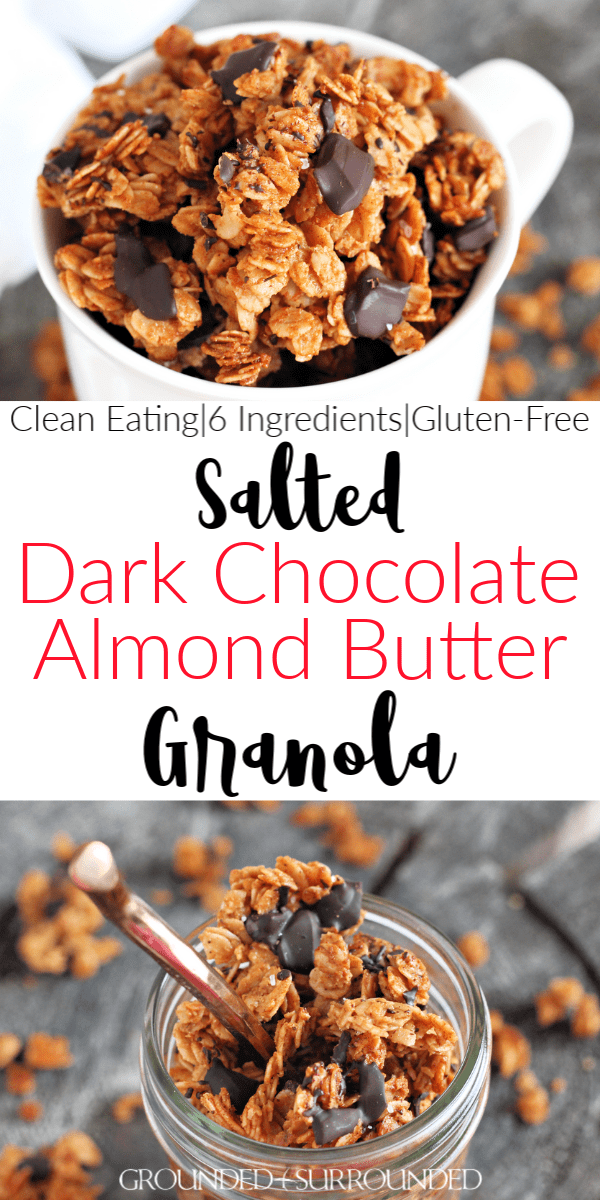 Dark Chocolate Almond Butter Granola | A homemade and healthy granola recipe is my weakness. This easy DIY almond butter (or peanut butter) snack boasts clusters of salty and sweet with it\'s flaked sea salt. Eat this for a simple breakfast with almond milk, gluten free brunch, snack, or dessert. Honey and coconut oil are also used. Learn how to make this clean eating 6 ingredient recipe and you will have deliciousness all week!  #cleaneating #snacks #breakfast #glutenfree #recipes