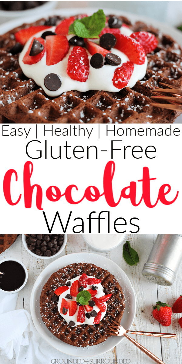 Gluten-Free Chocolate Waffles | This healthy and easy breakfast, brunch, snack, or dessert recipe is perfect for adults and kids! From scratch homemade recipes are best and this one is no exception. Use #glutenfree flour or whole wheat, cocoa, coconut sugar, eggs and almond milk. Oil free and no butter too! Learn how to make simple Belgian waffles at home with toppings galore like bananas, fruit, whipped cream or plain Greek yogurt. #waffles #cleaneating #easyrecipe #breakfast
