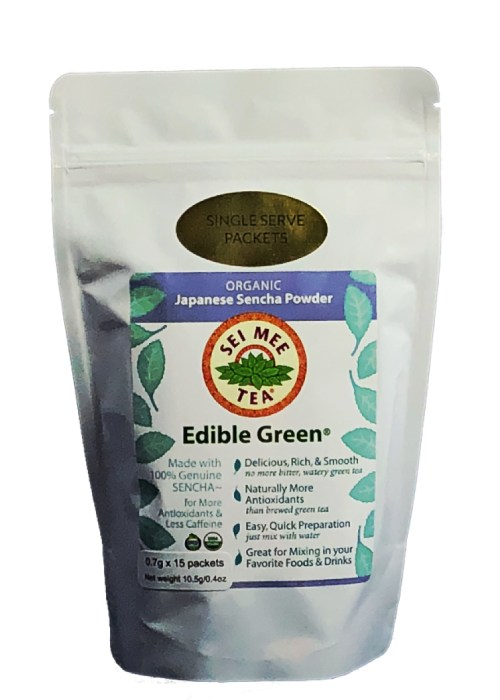 Edible Green Tea Sencha Powder single serving packets
