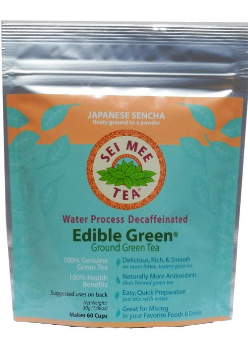 Edible Green Tea Sencha Powder Water Process Decaffeinated - 60 cups