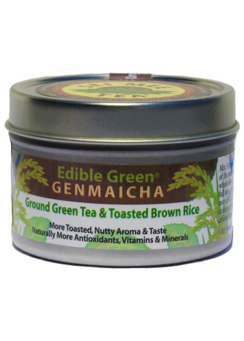 Edible Green Tea GENMAICHA powder, Organic - 30 cup tin