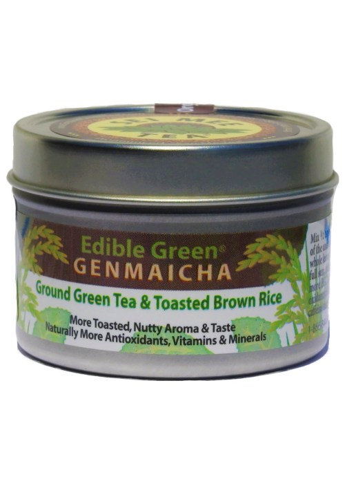 Edible Green Tea GENMAICHA powder, Organic - 30 cup tin