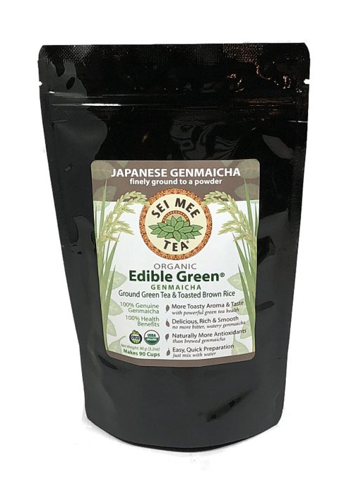 Edible Green Genmaicha powder, Organic - 90g pouch