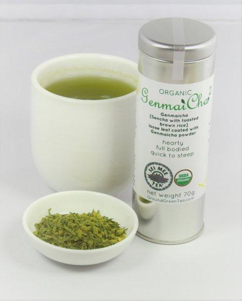genmaicha leaf tea coated with genmaicha powder
