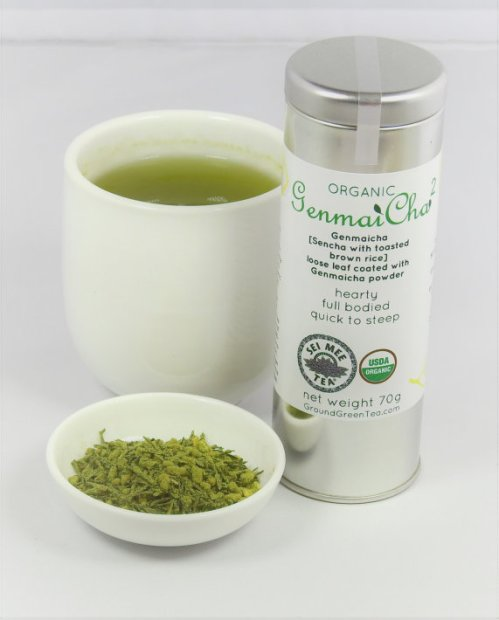 genmaicha leaf tea coated with genmaicha powder