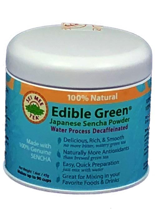 Edible Green Tea Sencha Powder Water Process Decaffeinated - 90 cup Gift Tin