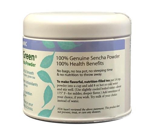 Organic Sencha powder gift tin side 2