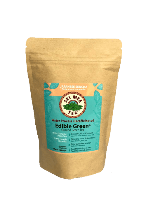 Edible Green Tea Sencha Powder Water Process Decaffeinated - 180 cup pouch