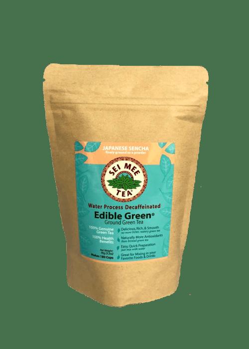 Edible Green Tea Sencha Powder Water Process Decaffeinated - 180 cup pouch