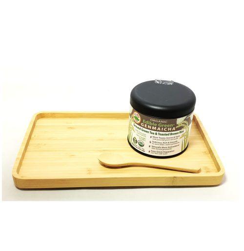 Bamboo Tray Spoon Genmaicha Powder