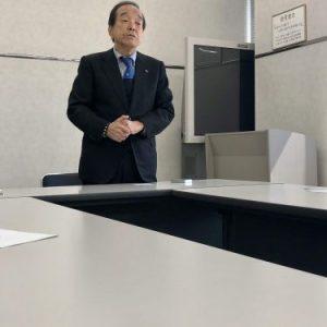 Greeted by President Shimodozono
